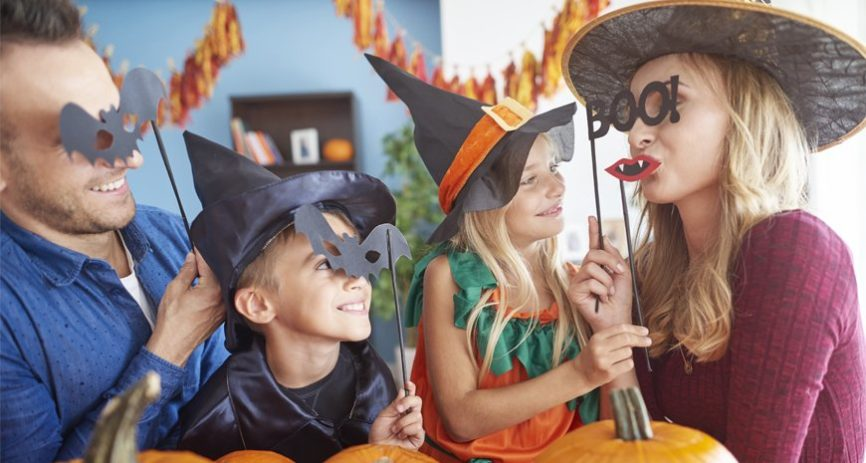 parents with kids in costume
